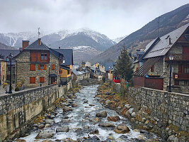 River bed and old town in Vielha (Catalonia, Spain)