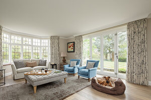 Sofa set and dog in dog basket in bright living room