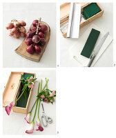 Instructions for making flower arrangement of Peruvian lilies, calla lilies and red onions in wine box
