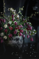 Bouquet of snake's head fritillary and flowering blackthorn