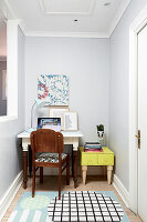 Small workspace with DIY side table