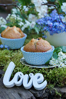 Lettering spelling 'Love' next to muffins on moss