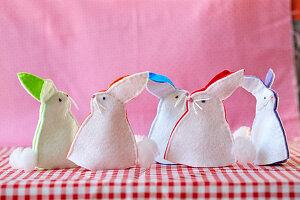 Handmade, two-tone, felt bunny egg warmers