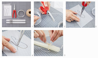 Instructions for making angel-wing candle decorations from wire