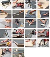 Instructions for making desk with linoleum top