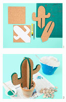 Instructions for making a cactus-shaped pinboard