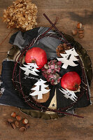 Numbered paper trees in wreath with pomegranates