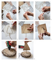 Making a miniature Christmas tree from wire and wood-patterned paper