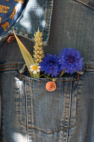 Kornblumen, Weizenähre und Kamille in Jackentasche