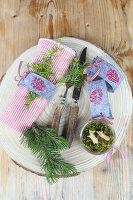 Handmade felt napkin rings with stamped motifs