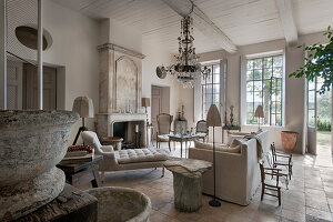 Vintage-style living room in French country house