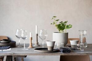 Rustikaler Holztisch mit Weingläsern, Bechern, Zimmerpflanze und Kerzen