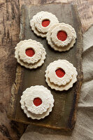 Festive arrangement of faux Christmas biscuits made from felt