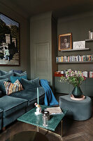 Glamorous living room in shades of blue, green and grey