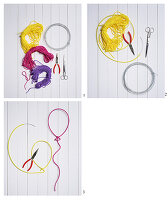 Instructions for making balloon-shaped wall decorations from wire and a knitted tube