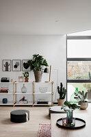 Schlichtes modernes Wohnzimmer mit Pflanzen und Bodenkissen