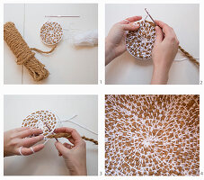 Crocheting jute cord and white yarn