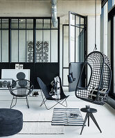 Black-and-white loft apartment