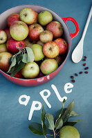 Apples in red saucepan on blue surface with paper lettering