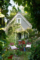 Wooden house with cottage garden