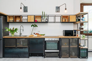 Wood and metal kitchen cabinets