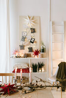 Christmas arrangement with DIY Christmas tree made from string
