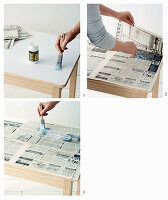 Covering the top of a wooden table with newsprint decoupage
