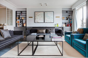 Custom sofas and coffee tables in living room