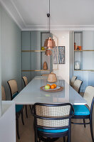 Custom dining table with bistro chairs