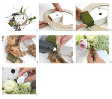 Instructions for making spring wreath with flowers and ornamental bird box