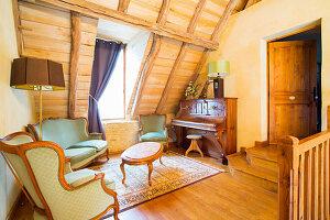 Piano room in attic