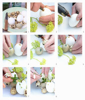 Österliches Arrangement aus Eiern und Frühlingsblumen selbermachen