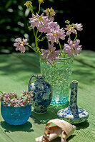 Glass vase of purple crown vetch flowers