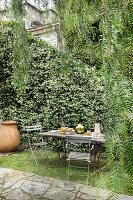 Breakfast table in garden