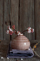 Branches of Bodnant viburnum in small vase on folded cloth