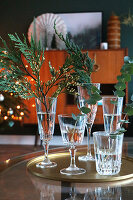 Sprigs of thuja, eucalyptus and juniper arranged in glasses of water