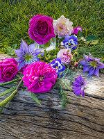 Roses, clematis and violas