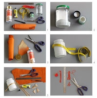 Instructions for making pen holder from glass jar