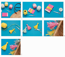 Instructions for decorating raffia basket with tassels