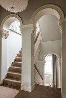 Elegant Victorian arches in stairway