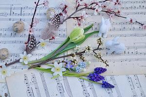 Zweige von Blutpflaume und Schlehe, Blüten von Tulpe, Traubenhyazinthen und Buschwindröschen mit Osterhasen und Ostereiern