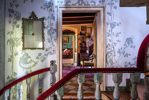 Staircase banister with velvet cover, mirror on wall with floral motif