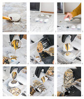 Instructions for painting stones using a pour method