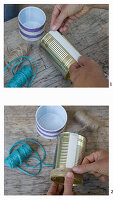 Instructions for decorating a tin can with cord