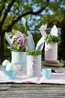 Easter herb pots made from tin cans