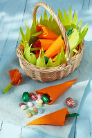 Colourful paper bags with Easter sweets
