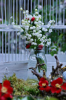 Bouquet of lily-of-the-valley, lady's smock and Japanese quince
