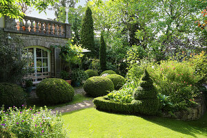 Formal garden with topiary trees