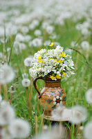 Bouquet of Star-of-Bethlehem, buttercups and spirea in rustic ceramic jug