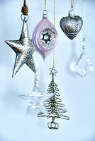Christmas decorations in silver and pink